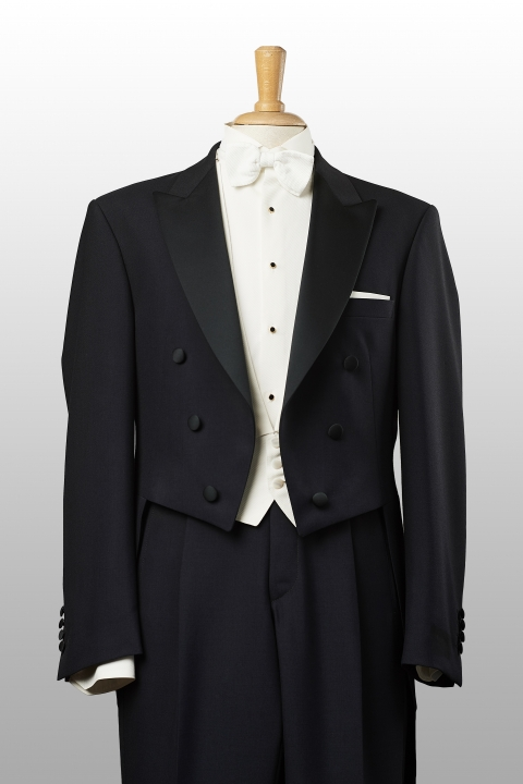 White-tie and black trousers, white waistcoat