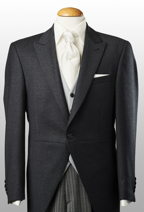 Morningcoat darkgrey, lightgrey waistcoat and striped trousers