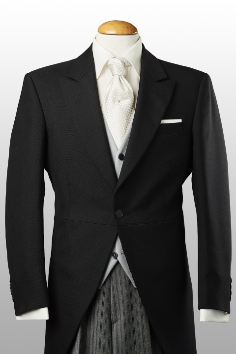 Morningcoat black, lightgrey waistcoat and striped trousers