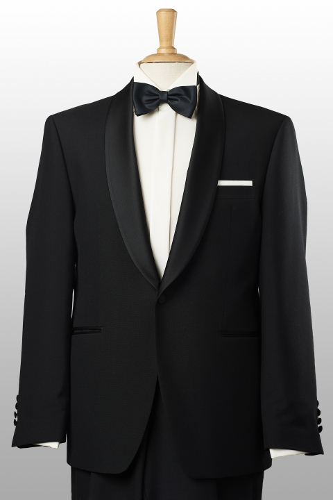 Black-tie single-breasted black